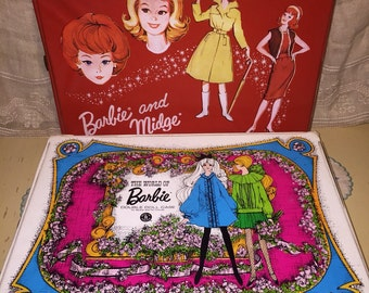 Lot of 2 Vintage 1960s Barbie Cases Boxes Red Midge Double Doll Cases 1968 1964