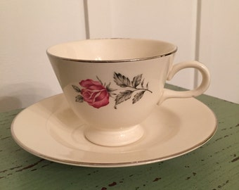 Homer Laughlin Teacup and Saucer Pattern CV156 Eggshell Cavalier with Pink Roses and Platinum Trim