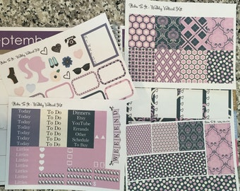 Purple Crush ECLP Weekly Kit Mambi Happy Planner Stickers Lavender Navy Girly Check Lists Daily Boxes