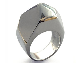 GEM Ring, Unique Silver Ring, Large Silver Ring, Chunky Ring, Silver Statement Ring, Faceted Ring, Italian Jewelry