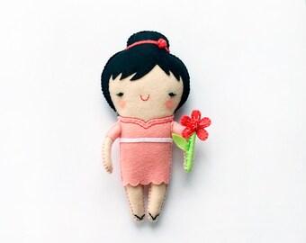 Cute Japanese Girl Felt Doll, Handmade, Felt toy, Little Chinese, Gift