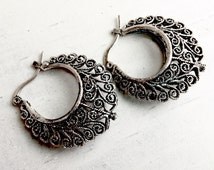 Vintage Hoop Earrings Boho Earrings Bohemian Hoops Bohemian Earrings Filigree Hoops Filigree Earrings Vintage Filigree Hoops Classic Hoops