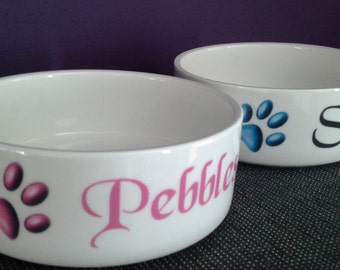 Cat/Small Dog Bowl Personalised with Name/Paw Prints