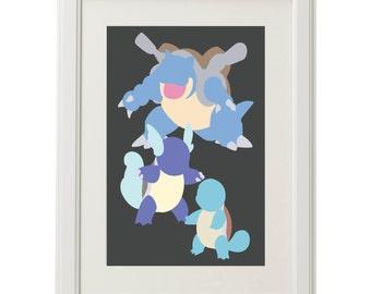 Minimalist Pokemon Water Starter Print/Poster