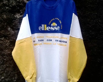 Vintage ELLESSE Sweatshirt Multi Colour Longslevee. Size Large