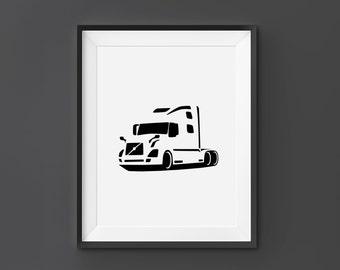 Volvo VNL, Volvo Wall Art, Volvo Print, Volvo, VNL, Home Decor, Digital Download, Black and White, Scandinavian Art, Car Wall Art