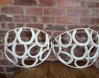 Wrought Iron Vintage Horse Shoe Wall Planters Very Rare- Farrow & Ball Finished