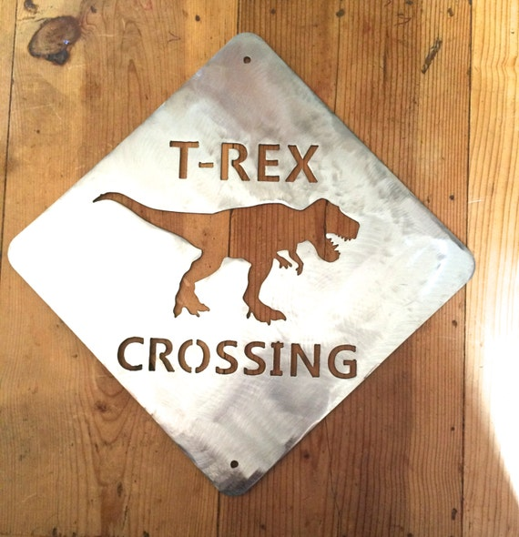 Dinosaur kids decor t rex crossing by twistedrawdesigns on for T rex bedroom decor