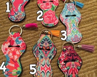 Lilly inspired chapstick holders with tassel