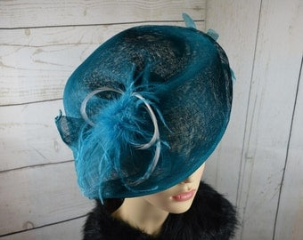 Teal Colour Fascinator / Hat  with feathers