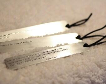 Custom Hand-Stamped Metal Bookmark