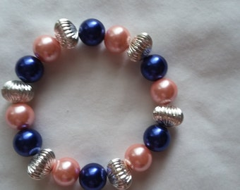 Pink, Blue and Silver Glass Bead Bracelet