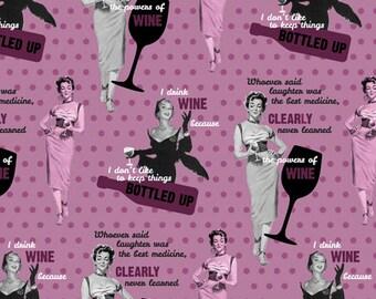Saturday Evening Post The Power of Wine Fabric by Springs Creative Wine Fabric Power of WIne Fabric Retro Fabric Fifties Fabric