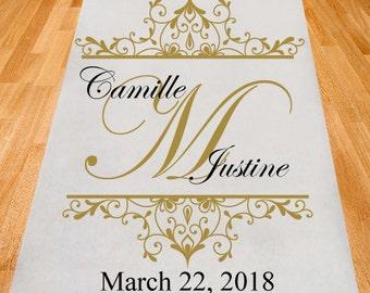 Modern Elegance Personalized Wedding Ailse Runner - Plain White Aisle Runner (PPD32)