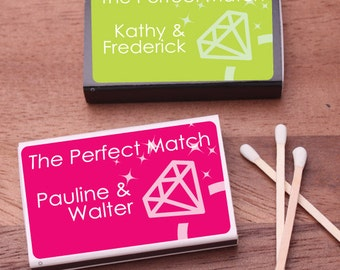 50 pcs Wedding Ring Personalized Matchboxes with Stickers (PPD-PENGYMBW26)