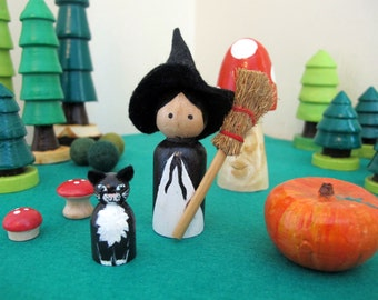 Witch and Black Cat Peg Doll pair