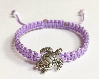 Sea Turtle Charm Bracelet, Lavender Nylon Sea Turtle Braided Charm Bracelet