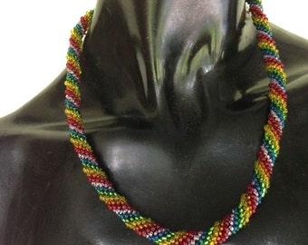 Rainbow Bead Crochet Rope Necklace