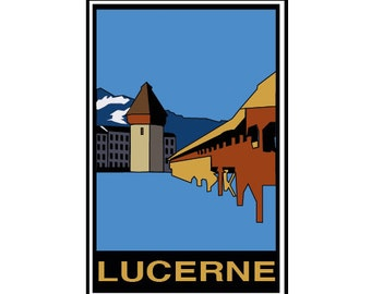 Postcard - Lucerne, Switzerland, greeting card, decorative stationery, vintage, retro card card