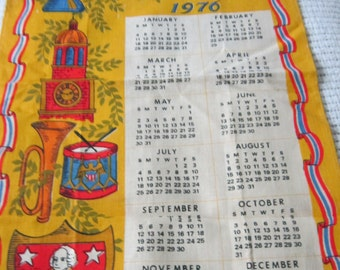 Bicentennial Linen Towel with 1976 Calendar