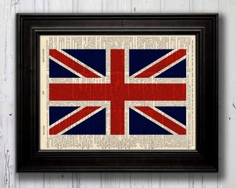 Art PRINT British FLAG Union Jack -- Recycled Antique Dictionary Art Print  5003