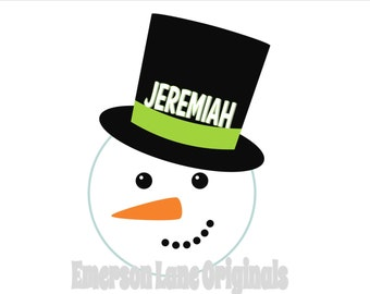 Snowman Christmas or Winter Iron On For Shirts - Personalized - Lightweight Vinyl Transfer