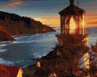 Oregon Coast Heceta Head Lighthouse at Sunset landscape Cross Stitch pattern PDF - Instant Download!