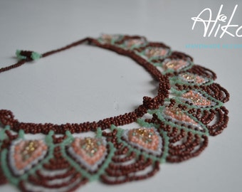 Brown Leaves necklace,  Bead weaving necklace, Fashion jewelry by Alika.