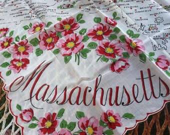Vintage antique rare 1950s RANSHAW MASSACCHUSETTS HANDKERCHIEF new old condition highly collectible