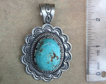 Sterling Silver Natural Turquoise Mountain Pendant