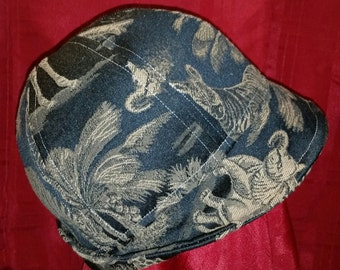 Black Upcycled Upholstery Large Hat