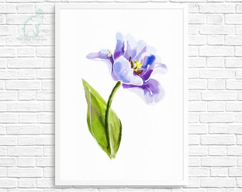 Flower watercolor, Printable poster, Purple flower, Botanical print, Flower art, Violet flower, Flower painting, Home poster, Printable