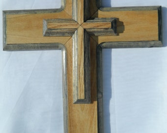 Large, Handmade and Edged 3 Dimensional Red Oak and Select Pine Wood Cross in Honey Pecan