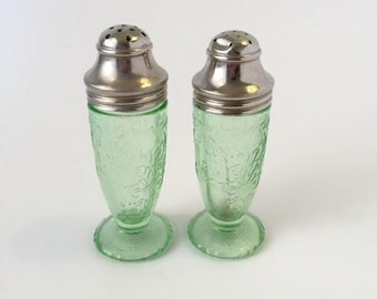 Vintae 1970s green galss salt and pepper shakers