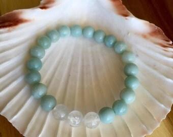 Amazonite, Moonstone healing stone crystal bracelet