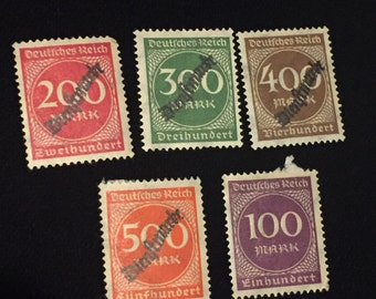 German Weirmar Republic 1923 Dienftmarke Overprint Stamps