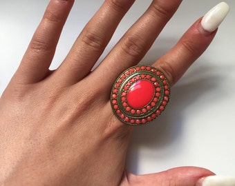Gold & Coral Round Stone Ring Size Small