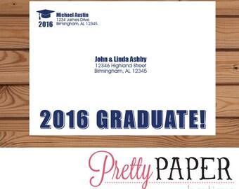 Graduation Party Invitation Printed Envelope