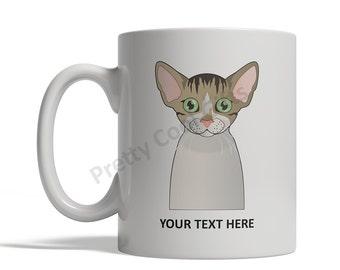 Devon Rex Cat Cartoon Mug - Personalized Custom Text Ceramic Coffee Tea Cup 11 oz