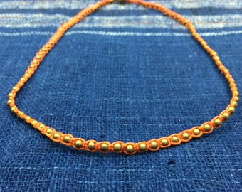 Brass studs woven with orange wax cord necklace/anklet N-5