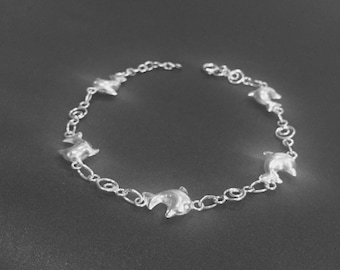 Silver puffed dolphin bracelet, Sterling silver bracelet, Silver bracelet, Boho silver bracelet, Silver dolphin charm  (BS-1)