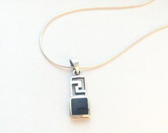 Silver And Onyx pendant, Sterling Silver Chain, Silver Pendant,  Silver Necklace, 925 Silver, Boho Jewelry, Silver Charm      (P 4/1)