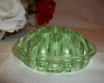 Flower Frog, Emerald Green Glass