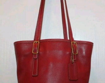 Coach Red Leather Classic Legacy Bucket Shoulder Tote #9803