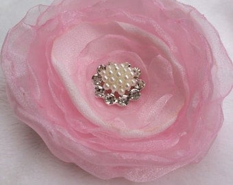 Pink hair clip flower wedding flower hair accessorie clip or brooch pin
