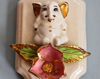 Vintage Porcelain Hanging Plaque