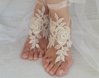 Barefoot sandals, wedding shoes, summer shoes, Beaded champagne lace wedding sandals, free shipping!