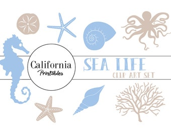 FREE COMMERCIAL USE Ocean Clip Art Set - Set of 16 - Ocea Clip Art - Sea Life Clip Art - Marine Clip Art -  Blue and Beige - Scrapbook