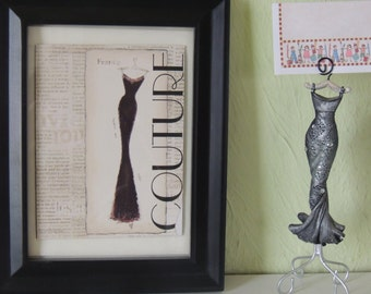 French Elegant Woman Figurine Business Card/Photo Holder with Frame Couture Card, set of two