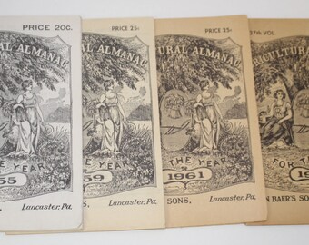 Four Vintage Agricultural Almanacs - Patina Book Pages - Mixed Media - Graduating from Egg shell to Carmel - 1955 - 1959 - 1961 - 1962 -